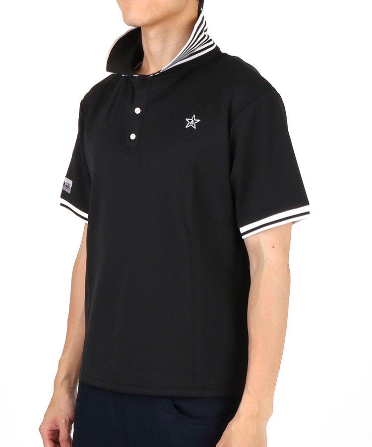 エマンゴルフ 19秋冬新作 AI 立て襟ボーダーニットポロシャツ