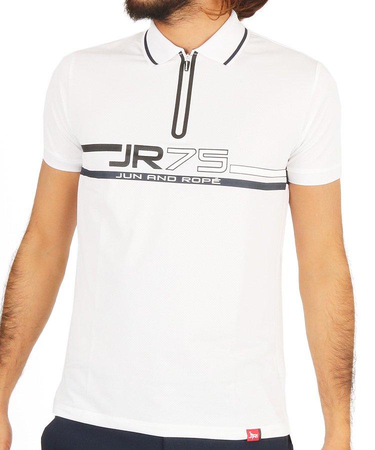 ジュン&ロぺ JR JR75ロゴプリント◆ジップポロシャツ
