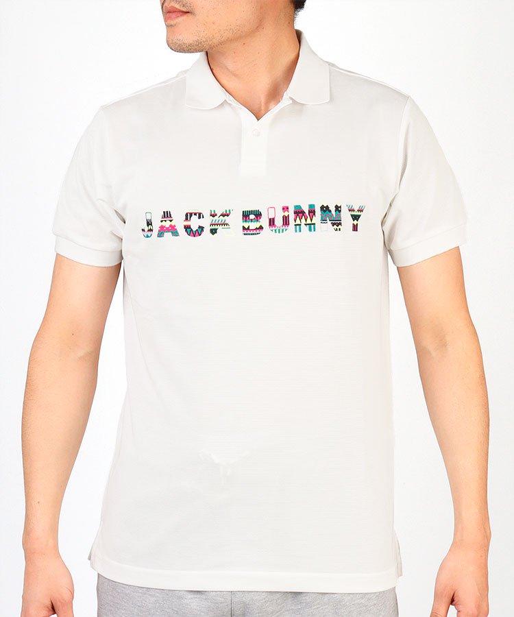 ジャックバニー JB トライバル柄ロゴ刺しゅう半袖ポロシャツ
