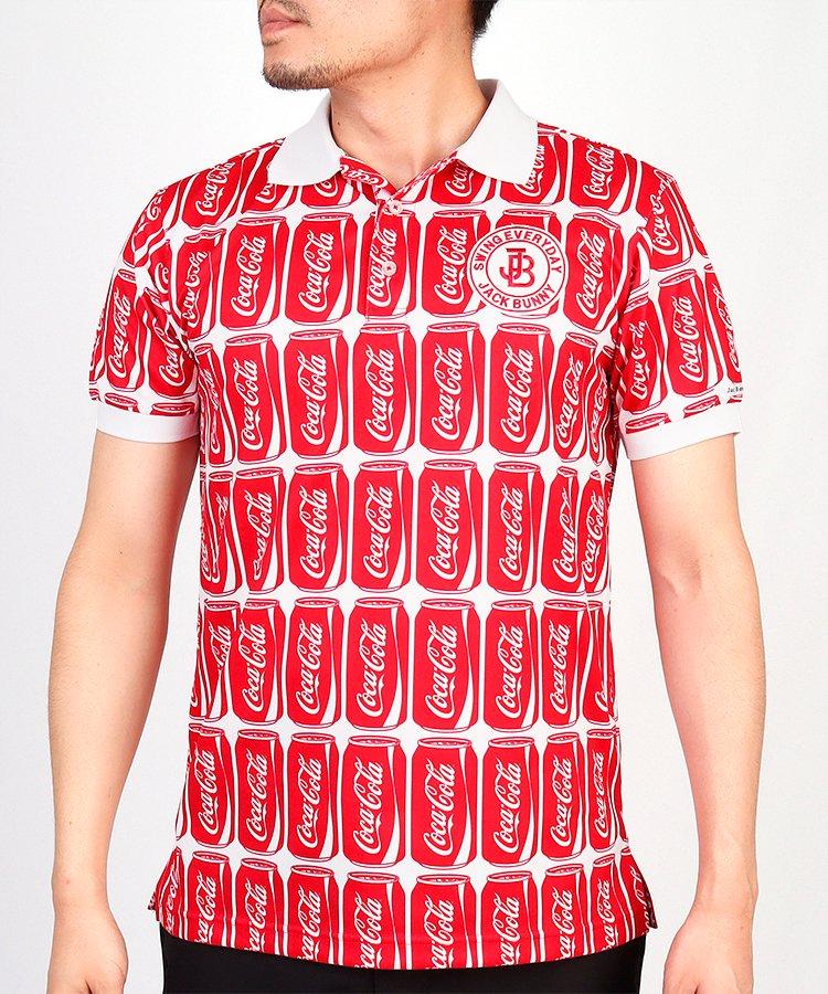 ジャックバニー JB CocaCola缶アート総柄◆半袖ポロシャツ