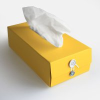 concrete craft / BUTTON TISSUE BOX(Yellow)