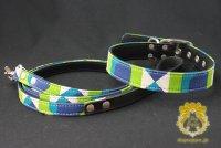 ヴィンテージファブリック カラー&リード セット グリーン  seven seas dog  /アウトレット